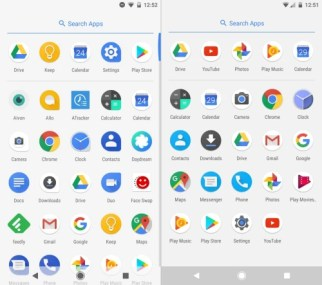 Image result for visual comparison between android o and nougat