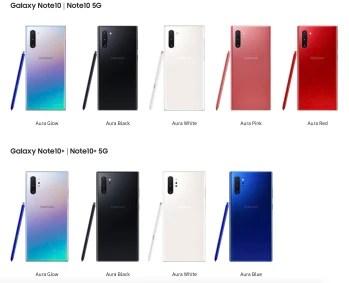 Note10-renkler