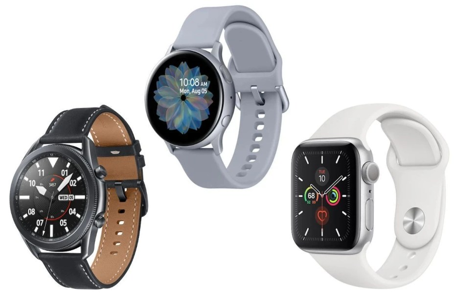 Galaxy Watch 3, Watch Active 2, Apple Watch Series 5 (left to right) - Samsung can be proud of the early Galaxy Watch 3 and Galaxy Buds Live sales results
