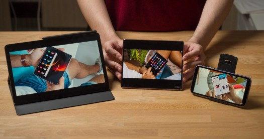 How YouTube videos generally look on the Galaxy Z Fold 2 (center) against a dedicated tablet (left) and smartphone (right). - Samsung Galaxy Z Fold 2 long-term review: Still exciting?