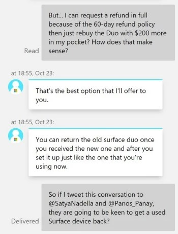 Tweet includes a conversation about what Surface Duo owners need to do to match Microsoft's new sale price on the device - Microsoft ignites Surface Duo controversy after last week's announcement