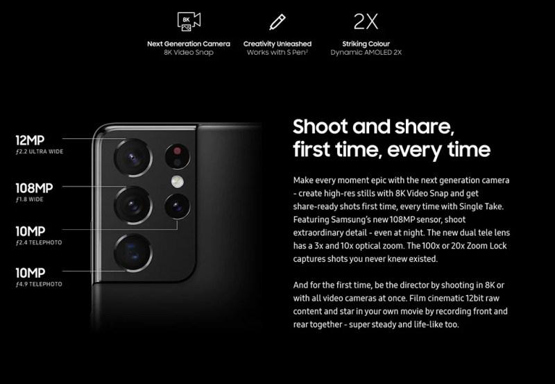 Samsung Galaxy S21 Ultra camera specs - All Galaxy S21 vs S21+ vs S21 Ultra specs revealed in a last-minute leak