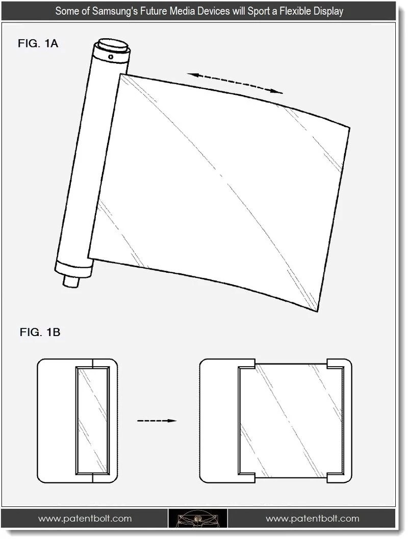 Samsung flexible display patents include pull-out and
