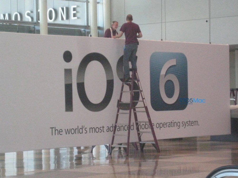 iOS 6 banners being hung at WWDC