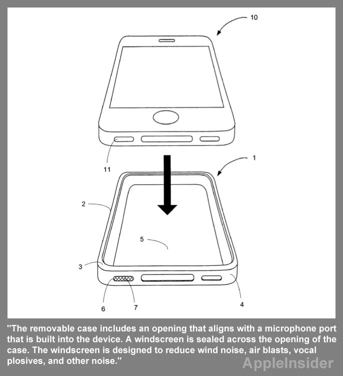 Apple patent application covers case with windscreen for