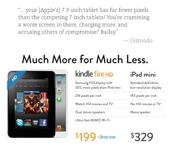 Much more for much less: Amazon directly attacks the iPad mini on its home page