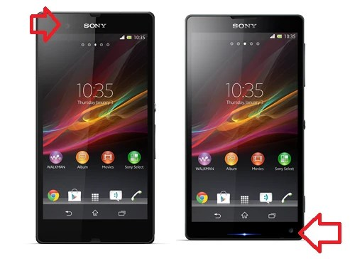 The Sony Xperia Z (L) and Sony Xperia ZL (R); note the different front camera placement - Sony's website leaks photos of Sony Xperia Z and Sony Xperia ZL