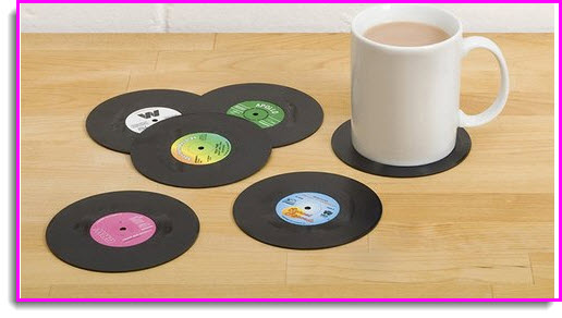 Retro Vinyl Record Coasters -Perfect Xmas Gift