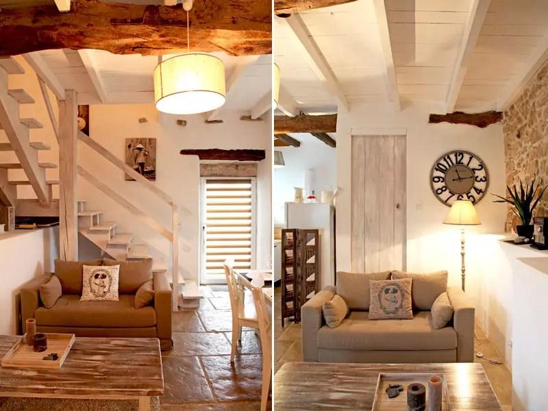 Salon en bois et pierre  Une petite maison faon brocante  Journal des Femmes