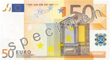 reproduction partielle de billet de 50euros.