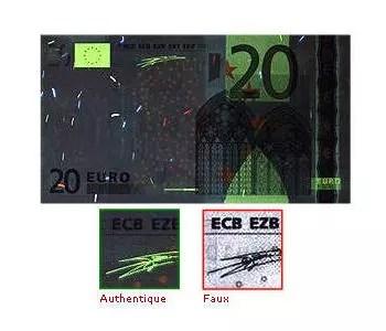 reproduction partielle d'un billet de 20 euros passé aux uv et un exemple de