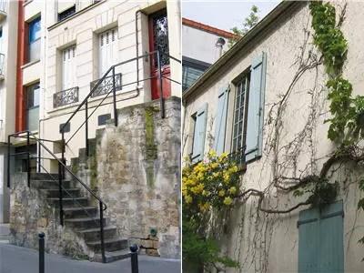 a gauche escalier de la rue du dessous-des-berges, à droite l'impasse bourguoin