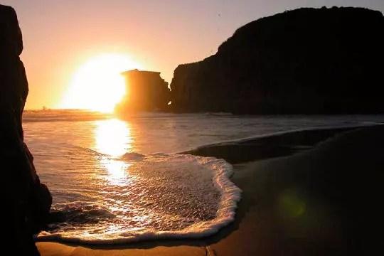 Coucher de soleil  la baie de Maori  NouvelleZlande