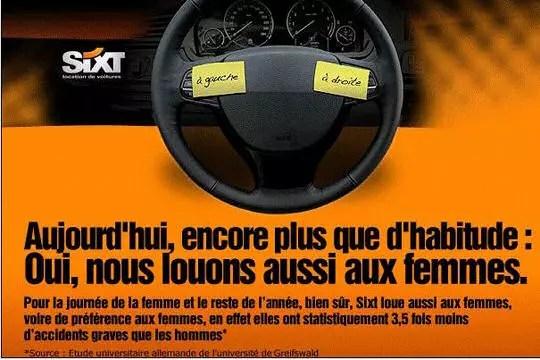 Sixt  nous louons aussi aux femmes  Les meilleures publicits automobiles  Linternaute