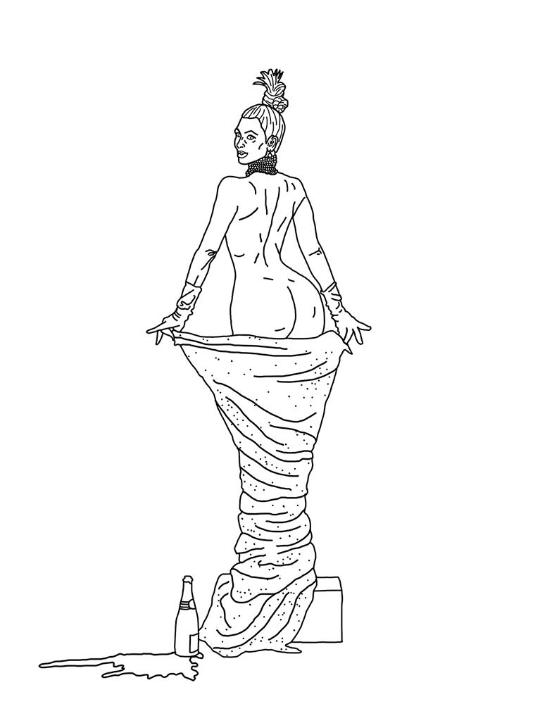 kim kardashian and drake, drawn by pop cartoonist