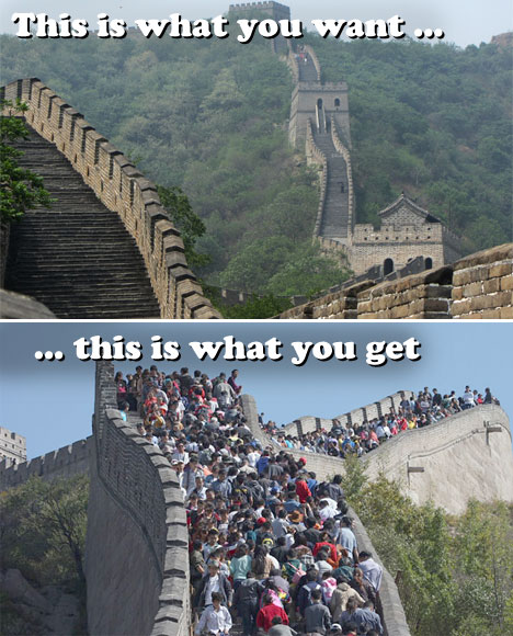 Crowded Great Wall of China