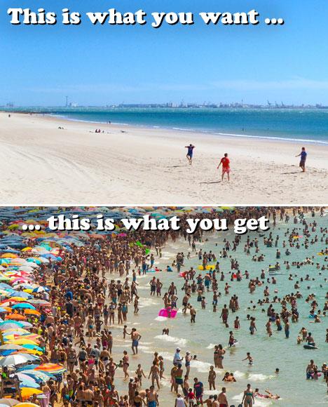 Overcrowded Tourist Destinations Crowded Spanish beach
