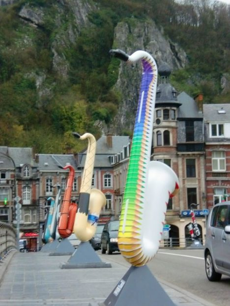 Hidden tourist spots Dinant Belgium saxophone