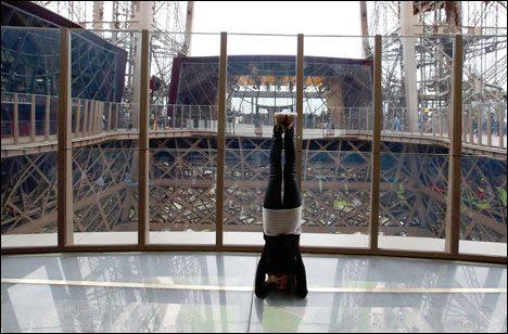 Glas Floor at level 1 of Eiffel Tower in Paris