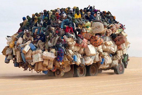 Overcrowded Public Transport Crowded lorry heading up north in Niger