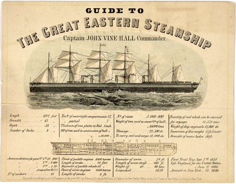Vintage tourist poster Great Eastern Steamship England New York 1860