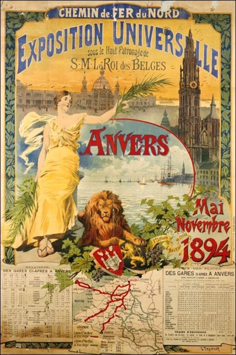 Vintage Tourist Poster - Exposition Universelle, Anvers 1894
