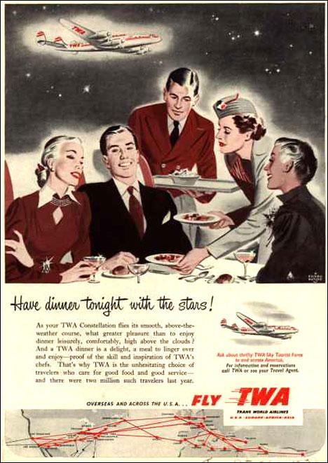 Vintage tourist poster Fly TWA 1950