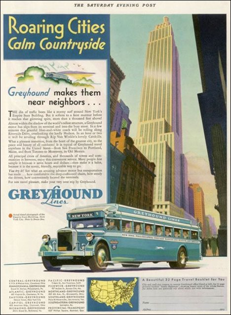 Vintage Tourist Poster - Greyhound Bus, New York