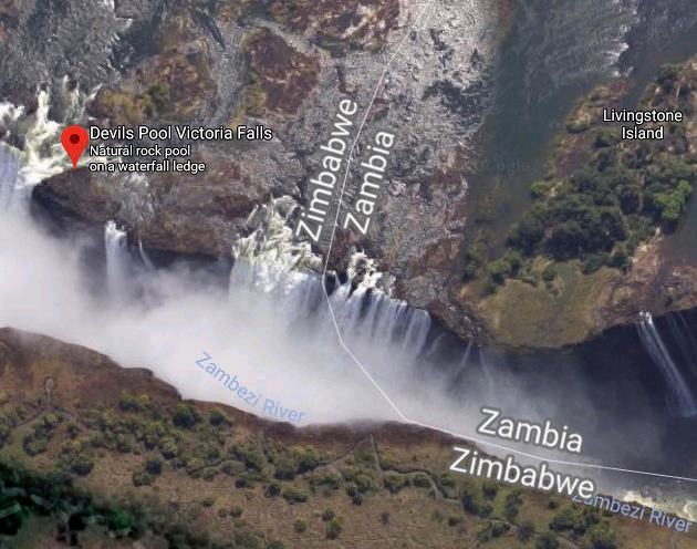 devils pool victoria falls map