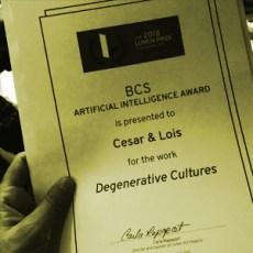 LUMENS PRIZE BCS ARTIFICIAL INTELLIGENCE AWARD FOR DEGENERATIVE CULTURES.