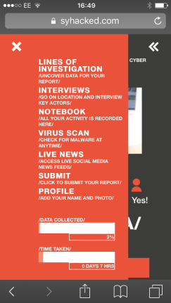 screen grab of #Hacked menu