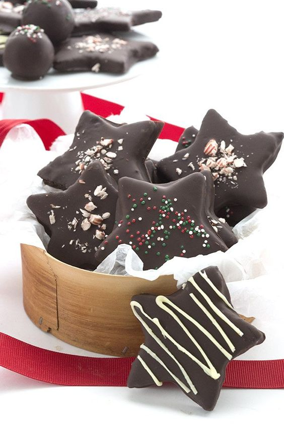 Low Carb Chocolate Peppermint Star Cookies. Keto Banting THM Egg-free Grain-Free Recipe