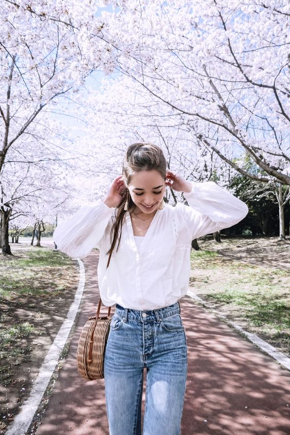 #spring#fashion#trends#cherryblossoms#japan#girl#outfit#denim#summer#2018#style#casual