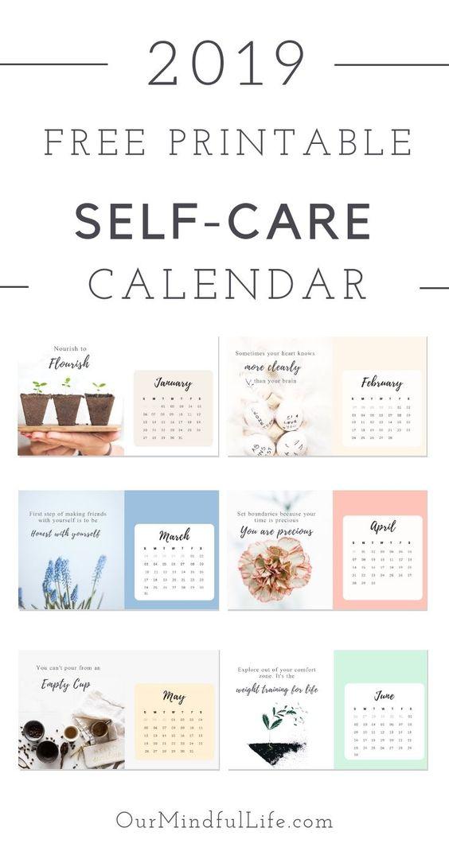Free Printable Self Care Reminder Calendar For 2019