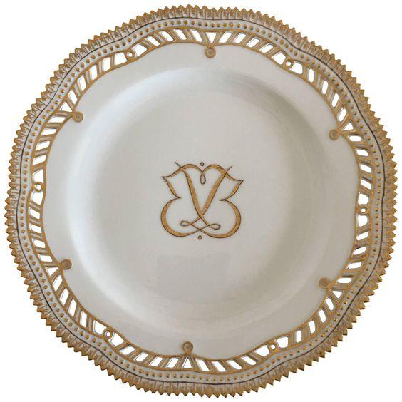 Royal Copenhagen Flora Danica Plate with Pierced Border and Monogram