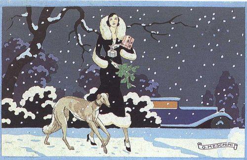 olosta:    1930 postcard by Meschini, Sera di Natale I