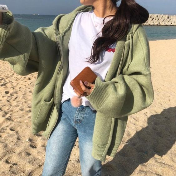 OVERSIZED WARM HOODED CREAM GREEN BEIGE BLACK SWEATER