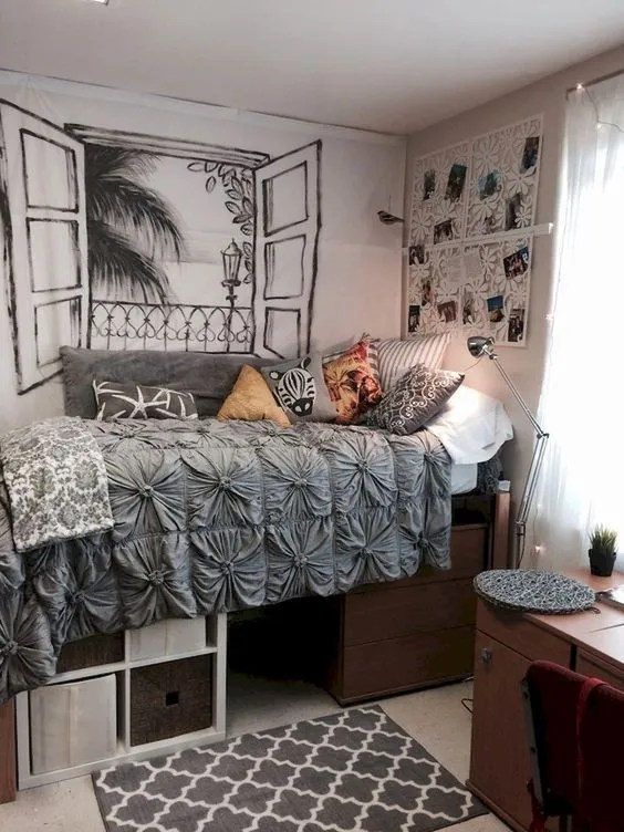 College Dorm Room Ideas Pink And Grey