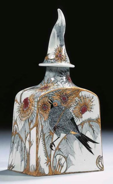 An egg-shell porcelain tea caddy  Decorated by Samuel Schellink for Rozenburg, 1900  The slightly tapering square body with a shaped openworked cover, the white ground painted with a polychrome decoration of birds perched on thistle branches, 22cm. high  |  SOLD $12,000