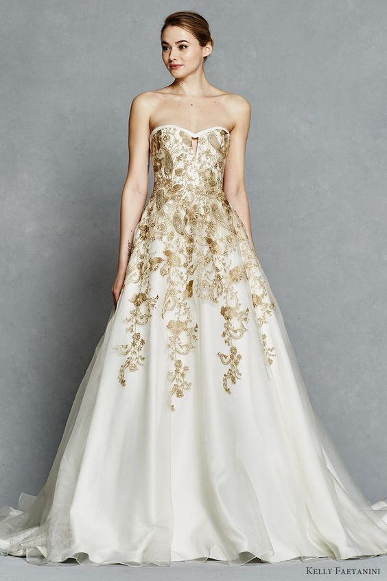 kelly faetanini bridal spring 2017 strapless sweetheart ball gown wedding dress (leona) mv gold color embroidery pockets