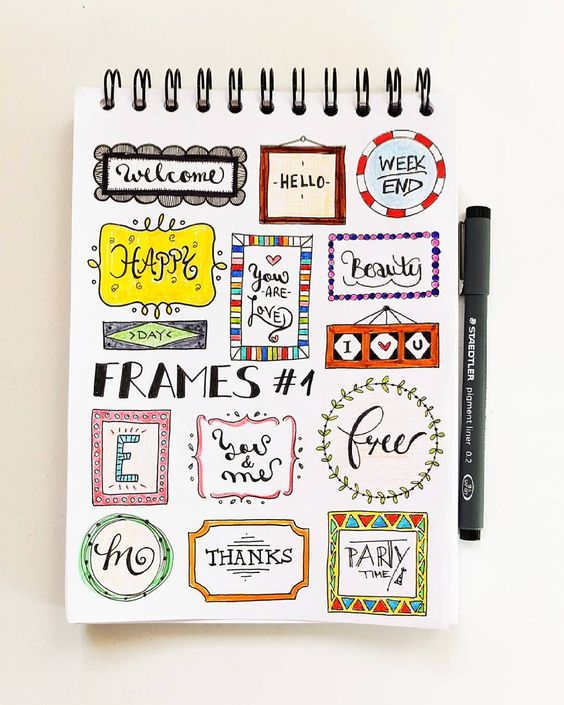 Colorful and Chic Bullet Journal Header Frame