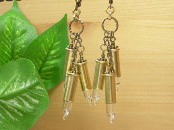 Bullet Jewelry ~ 22 Caliber Brass Bullet Casing ~ Clear Christmas Light Bulbs