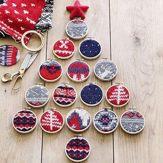 Make a ready-for-the-wall tree design with 16 small embroidery hoops (we used 3-inch-wide hoops) and interesting cuts from a Christmas sweater. Simply place the sweaters inside the hoops, fasten, and trim excess. Lay out in a tree pattern and use removeable adhesive to attach to your wall./