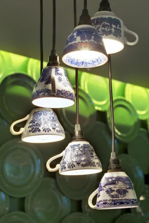 Tea cups diy light ideas - SHW Home Decor #teacupdiylightideas