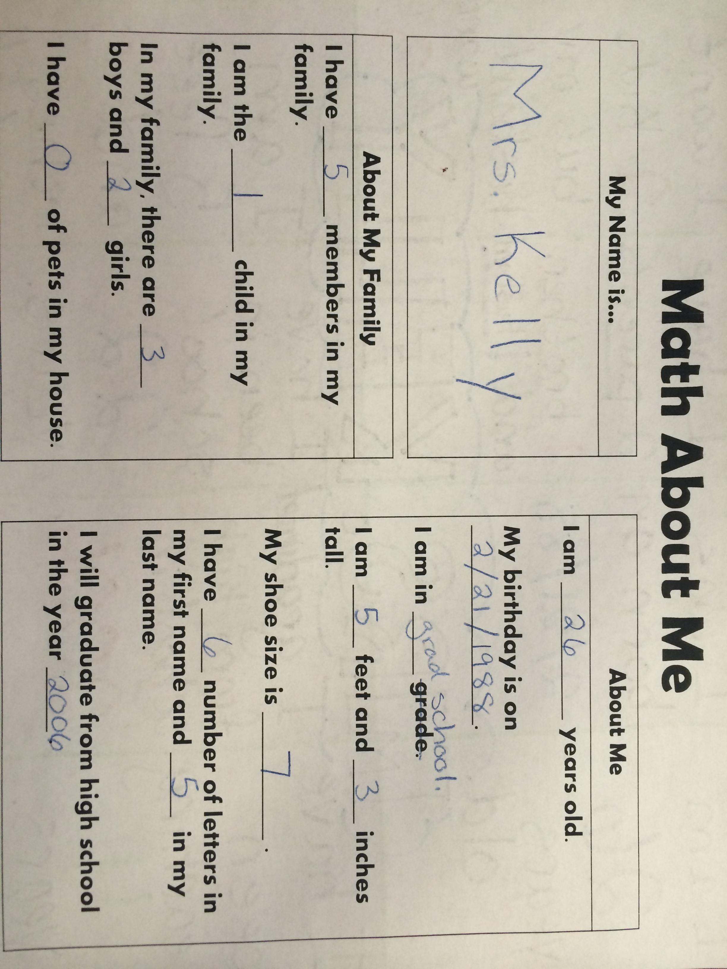 Math About Me – Beginning of the Year Activity – i ❤ edu