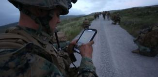 Marine Using Tablet