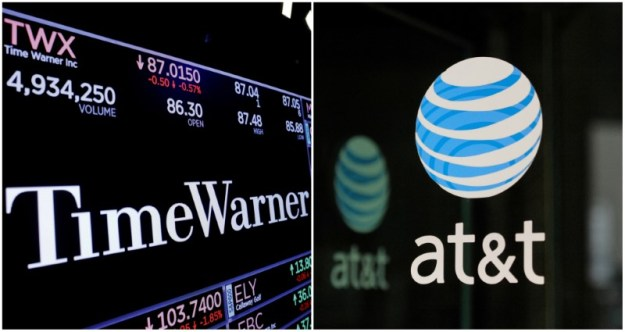 © Reuters. FILE PHOTO: A combination photo of the Time Warner shares price at the New York Stock Exchange and AT&T logo in New York