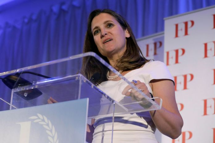 © Reuters. Canadian Foreign Affairs Minister Chrystia Freeland receives the Diplomat of the Year award in Washington