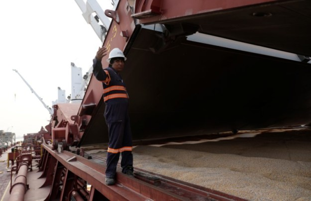 © Reuters. An employee atop a vessel Western Tosca carrying corn imported from the United States is pictured in the terminal port of Portimex in Tuxpan