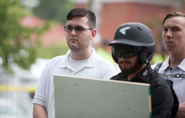 © Reuters. FILE PHOTO: James Alex Fields Jr. is seen participating in Unite The Right rally before his arrest in Charlottesville